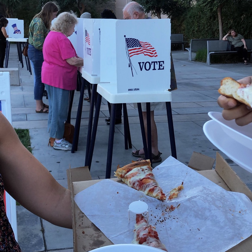 Photo of pizzas at polling places